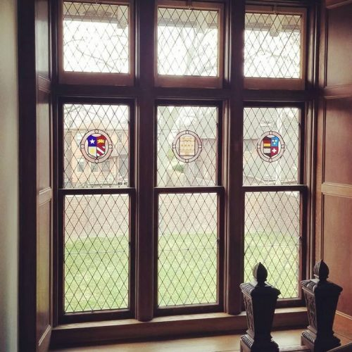 Leaded and stained glass window replication.